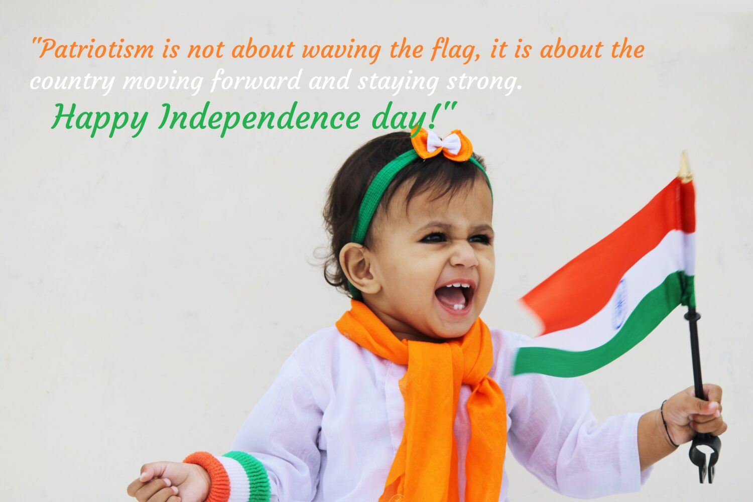 Girl waving flag, Independence day.