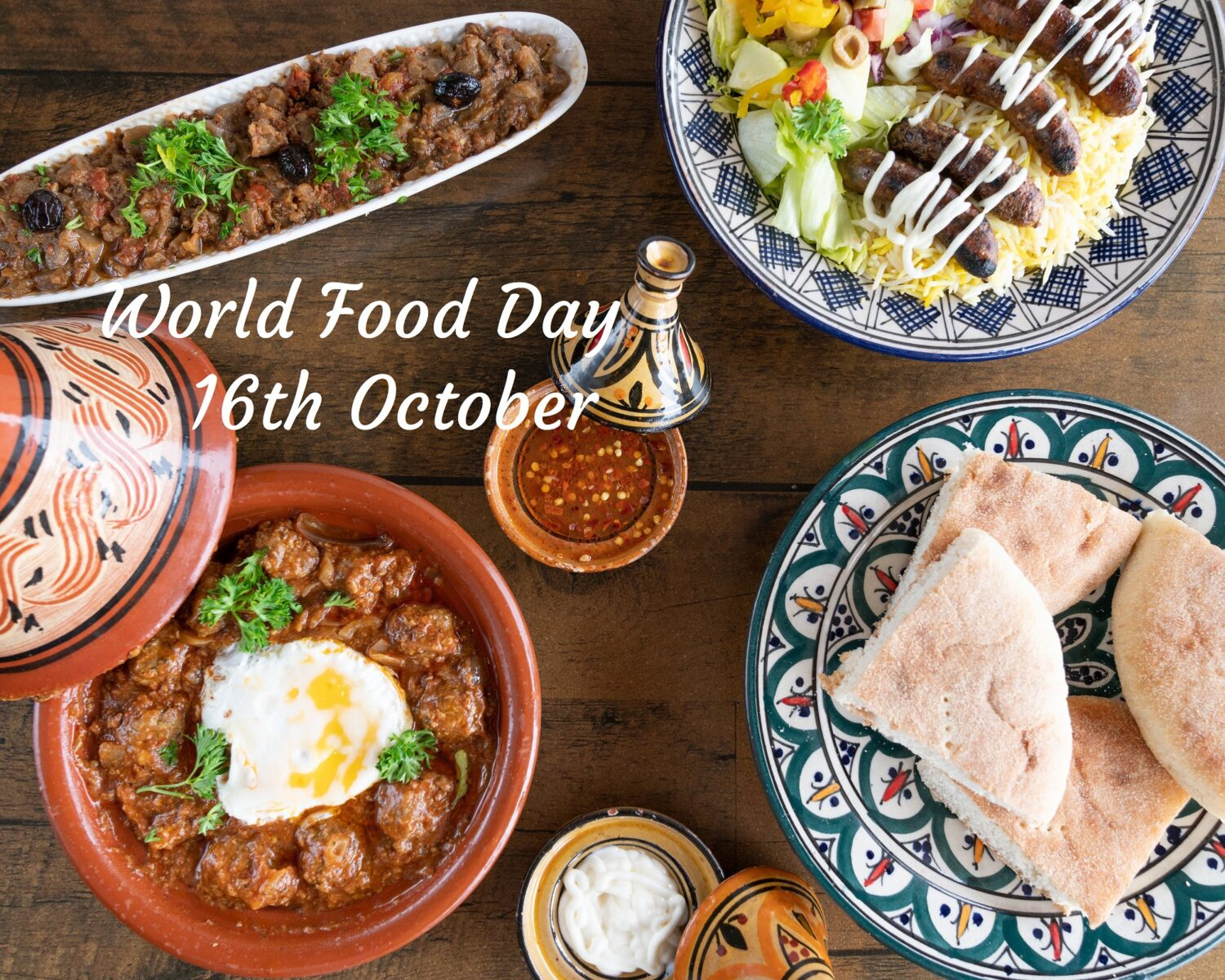 Moroccan food on table, World food Day