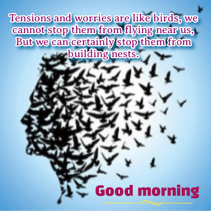 Sketch of human face with flying birds, Good morning best quotes.