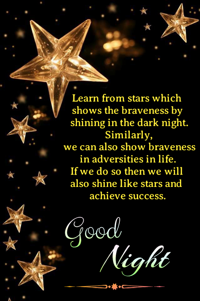 Message with stars in background, Good night wishes.