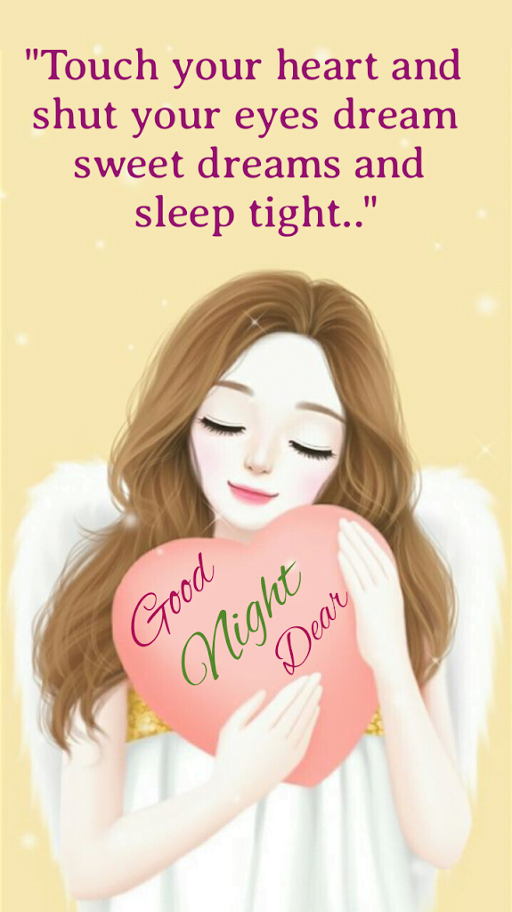 Girl with heart shape pillow in her hand, Good night wishes.
