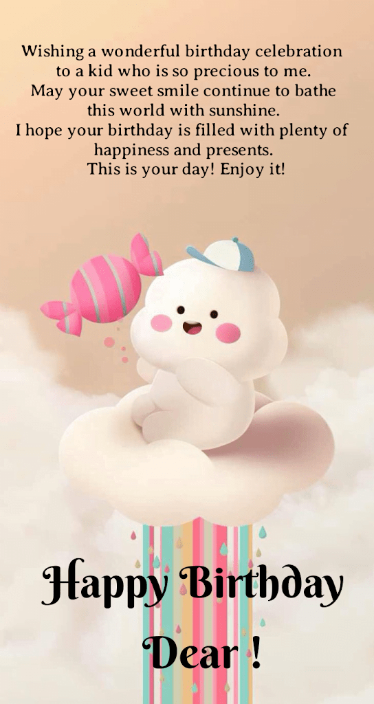 Cloud in baby shape, Birthday wishes for kids.