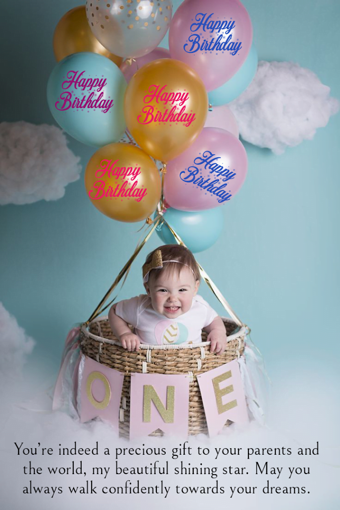 Baby girl sitting in basket of hot air balloons, Birthday wishes for kids.