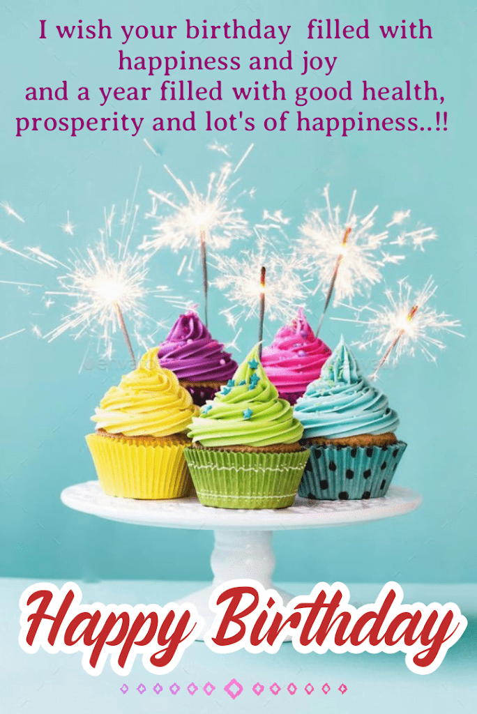 Five Cupcake with sparklers, Birthday wishes for kids.