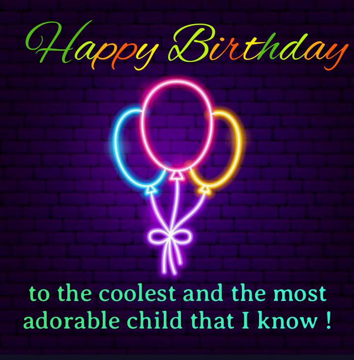 Neon balloon shape, Birthday wishes for kids.