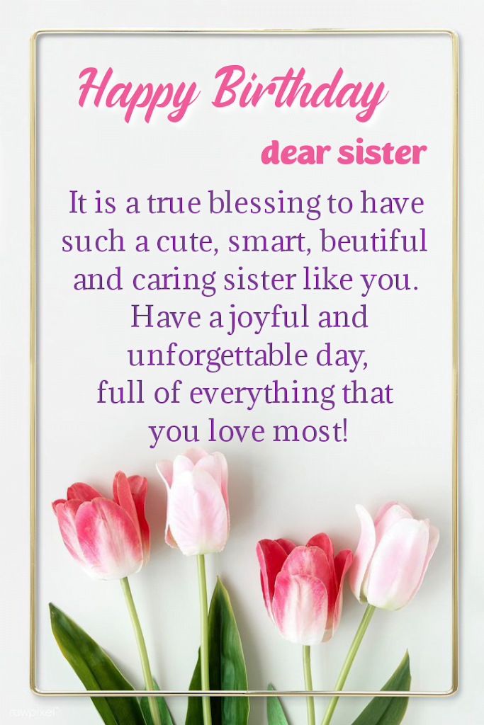 Birthday message with four tulip flowers, Birthday wishes for sister.