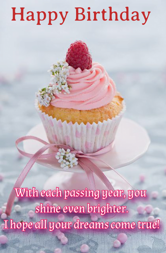 Cupcake with raspberry on top, Birthday wishes for sister.