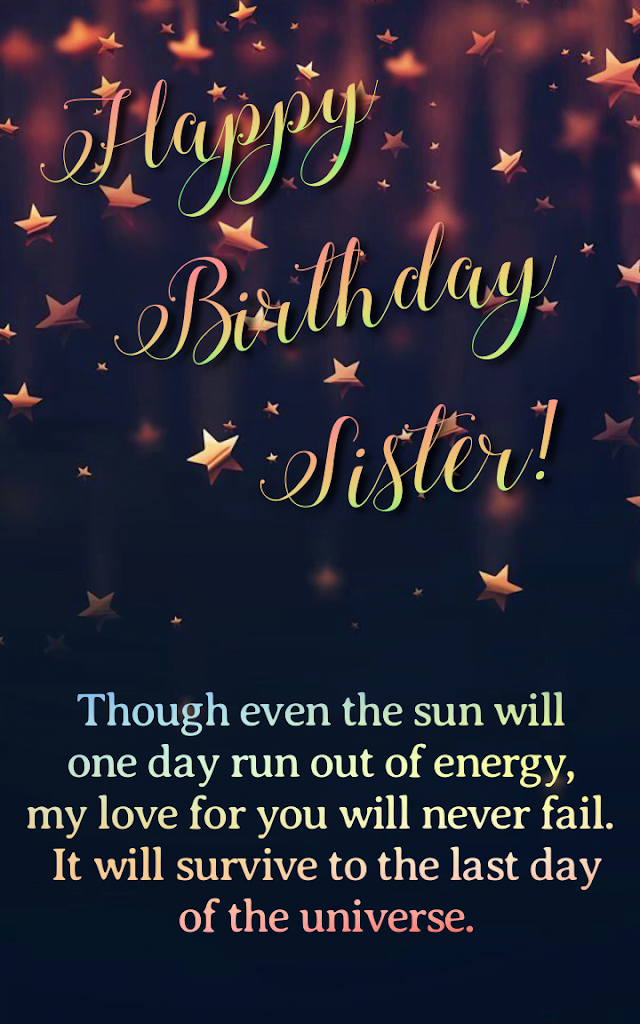 Birthday message with paper stars, Birthday wishes for sister.