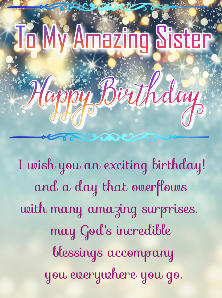 Happy birthday sister with sparkling background, Birthday wishes for sister.