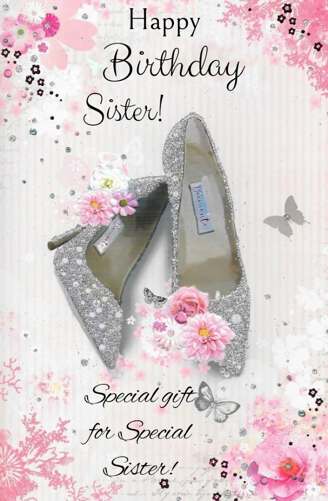 Silver girls shoes, Birthday wishes for sister.