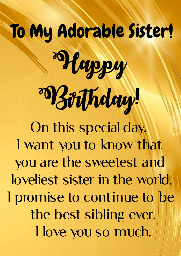 Message on golden poster, Birthday wishes for sister.