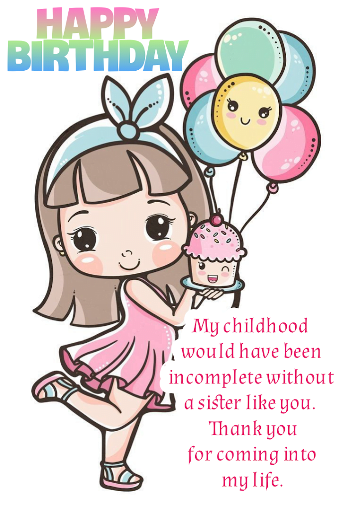 Girl carrying cake with balloons, Birthday wishes for sister.