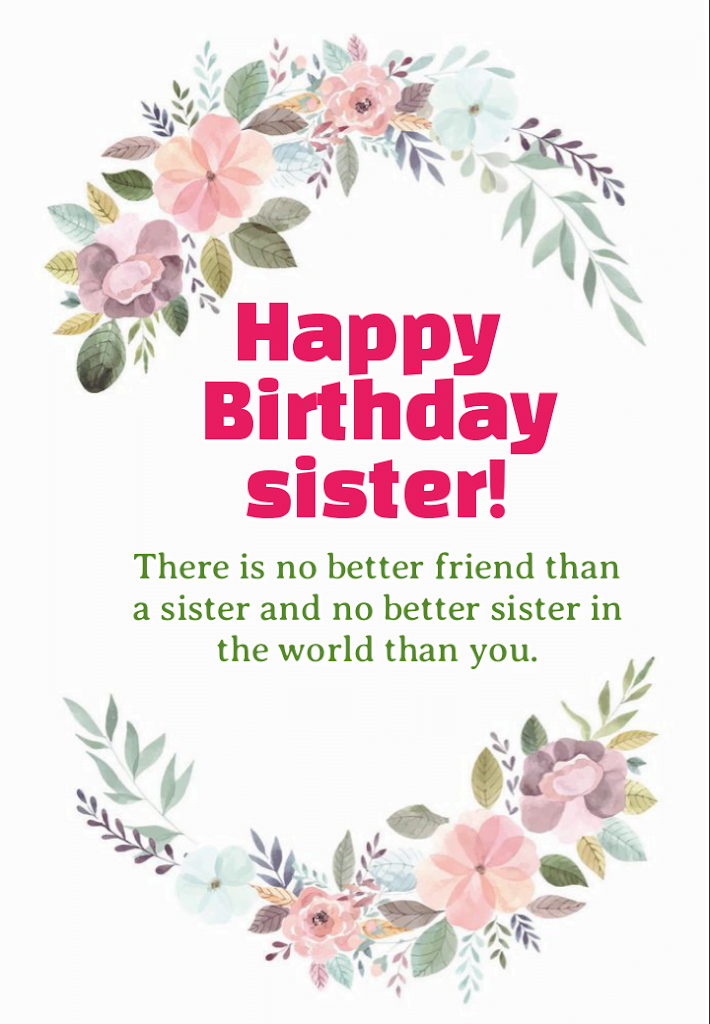 Birthday message with flowers, Birthday wishes for sister.