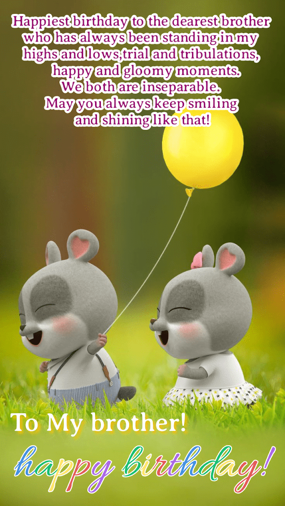 Bunny brother and sister with yellow balloon, Happy Birthday brother.