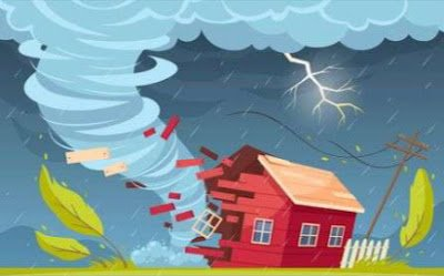 Storm destroying hut, Motivational stories for kids.
