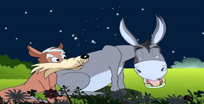 Donkey and Jackal in field, funny stories for kids.