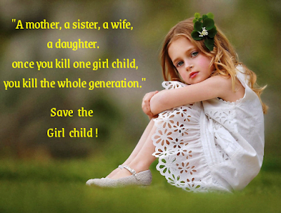 A girl is sitting in ground, International day of girl child.