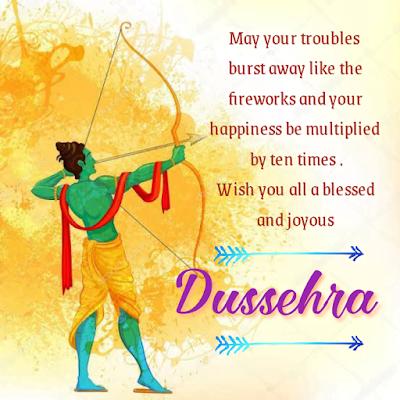 Lord rama shooting arrow with bow, Happy dussehra and vijayadashmi.