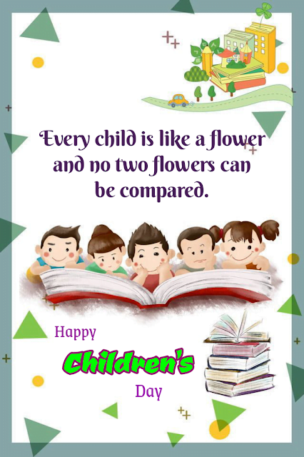 Kids reading large book, Children's day.
