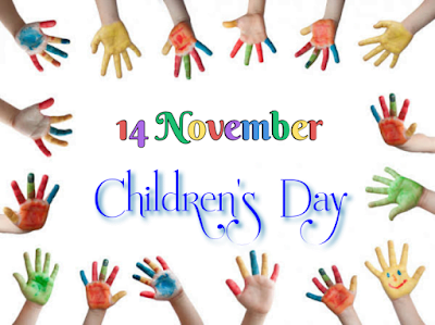 Kids hand smeared in paint, Children's day.