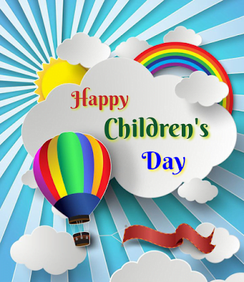 Hot air balloon in clouds, Children's day.