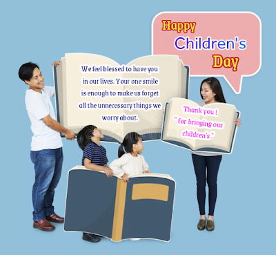 Parents and kids with large size books, Children's day.
