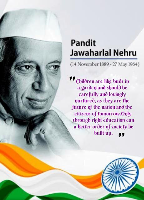 Pandit Nehru with tricolor, Children's day.