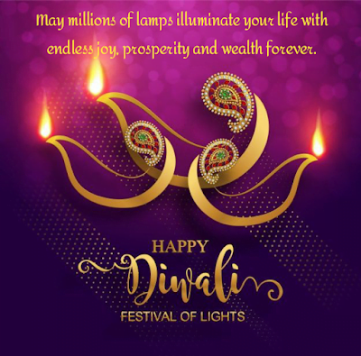 Lamps with ornaments, Diwali wishes.