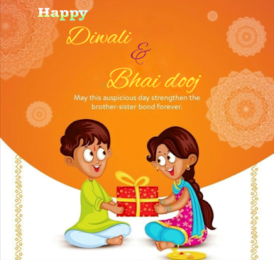 Brother and sister exchanging gift, Diwali wishes.