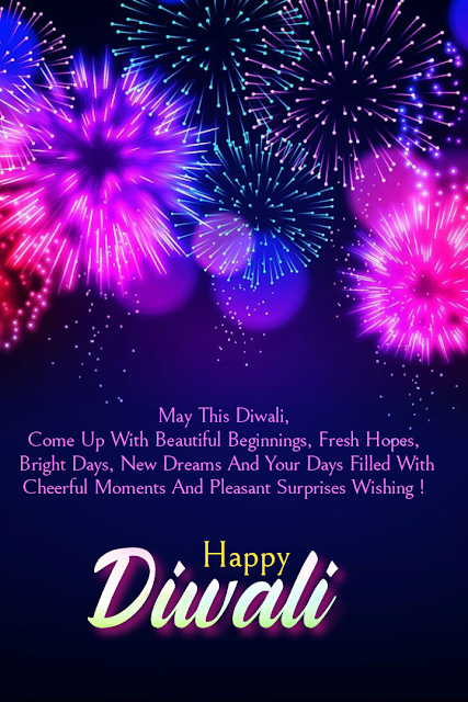 Sky brightened with fire crackers, Diwali wishes.
