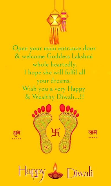 Footmarks and lamp, Diwali wishes.