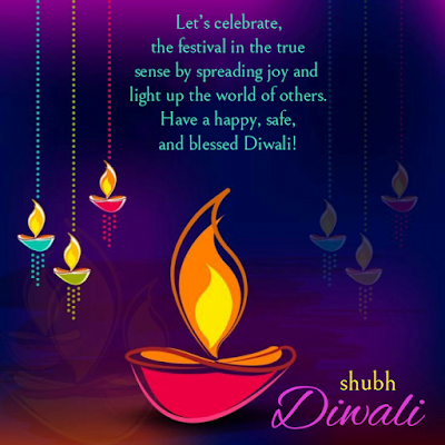 Hanging lamps with greeting, Diwali wishes.