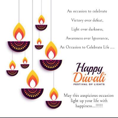 Hanging lamps, Diwali wishes.