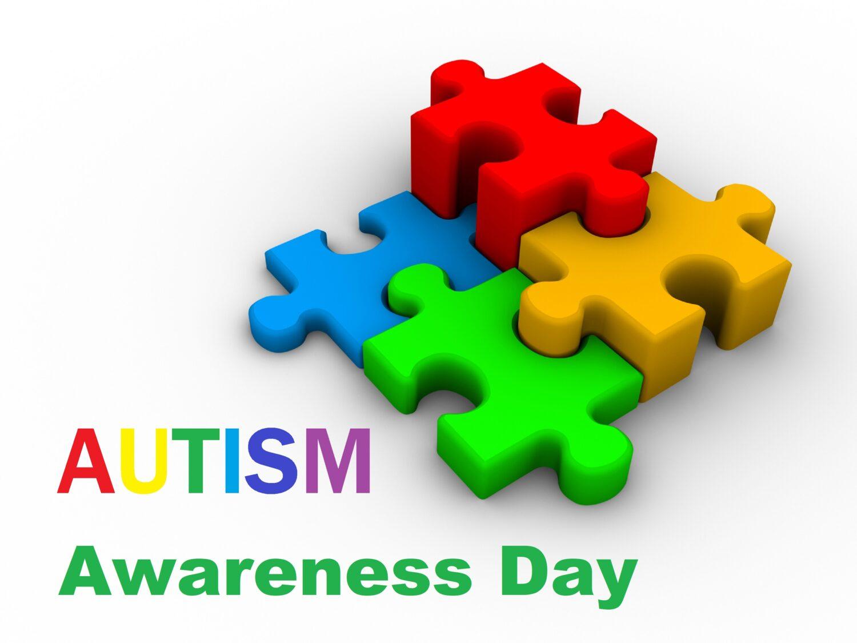 Four Puzzle blocks as autism symbol, Autism awareness day.