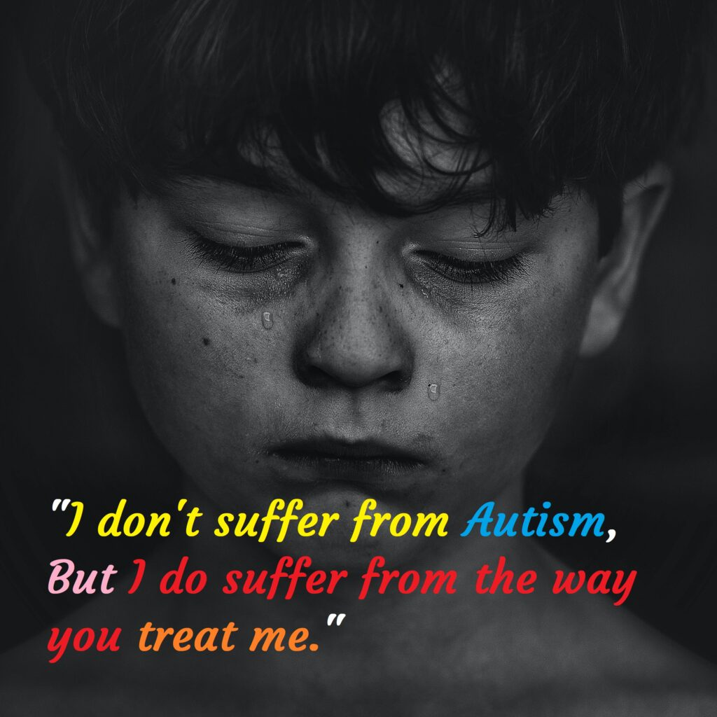 Crying boy with autism, Autism Awareness Day.