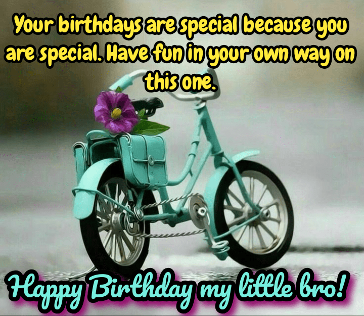 Toy bicycle with flower, Happy birthday brother.
