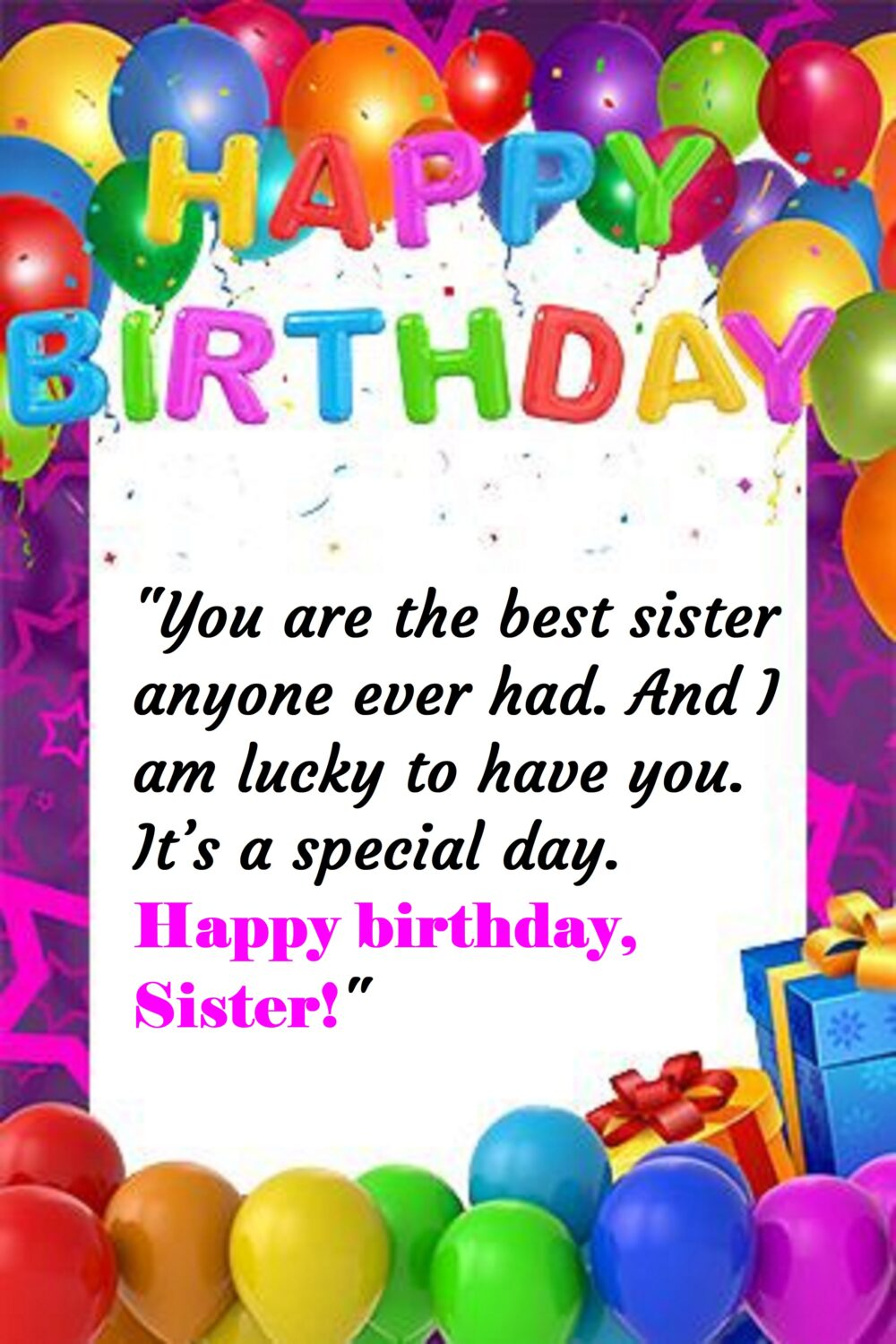 White poster with balloons gift boxes and happy birthday banner, Birthday wishes for sister.